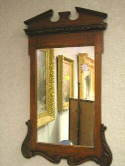 Georgianstyle Carved Mahogany Mirror and a Queen Anne Style Burl Veneer Mirror