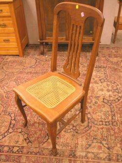 Victorian Oak Pedestal Dining Table and Set of Five Caned Oak Dining Chairs