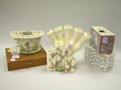 Six European Ceramic Flower Holders and a Japanese Metal Frog Set