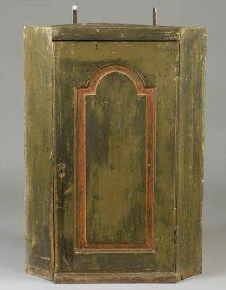Polychrome Painted Wooden Corner Cupboard with Tombstone Panel Door