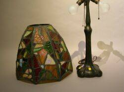 Handel Patinated Metal Table Lamp Base with a Leaded Glass Shade