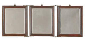 Walnut tripartite dressing mirror