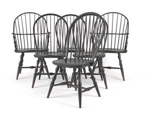 Set of six Windsor style dining chairs