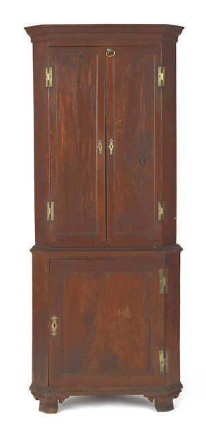 Diminutive Pennsylvania Queen Anne walnut twopart corner cupboard late 18th c