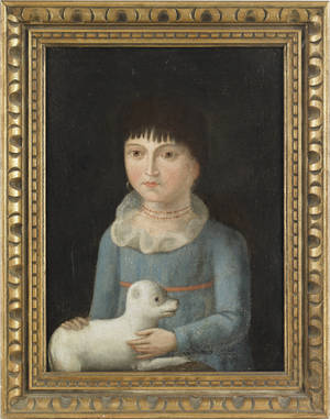 Oil on canvas folk portrait of a girl and dog ca 1830