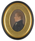 American oil on board profile portrait of a young man ca 1840