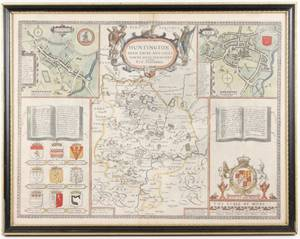 17th C John Speed Huntington  Ely Map