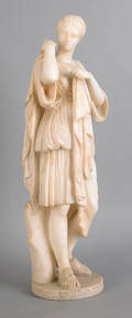 Marble statue of a classically draped maiden