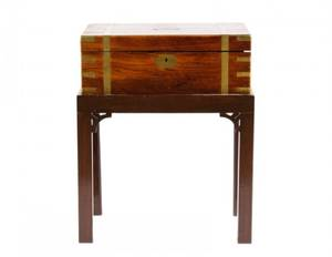 Late 19th C Mahogany  Brass Lap Desk on Stand