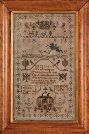 Silk on linen sampler with a house in a landscape