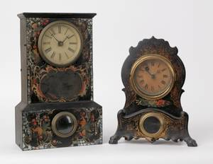 Ansonia iron front mantle clock together with a lacquer mantle clock