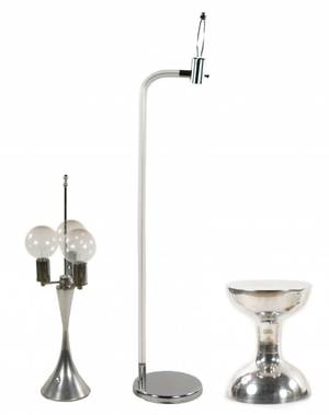 MCM Style Chrome Two Lamps  Pedestal