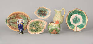Four majolica serving dishes