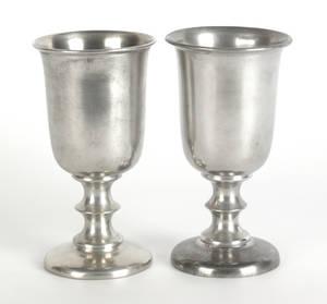 Pair of Taunton Massachusetts pewter chalices ca 1835