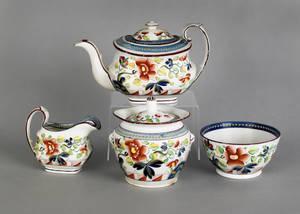 Gaudy Dutch single rose tea service 19th c