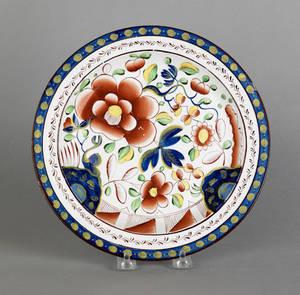 Gaudy Dutch single rose plate 19th c