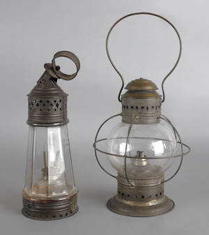 Two tin carry lanterns