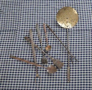 Group of 19th c wrought iron and brass utensils