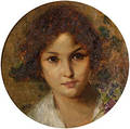Attributed to Francesco Oliva Italian 19th20th Century Portrait of a Young Woman
