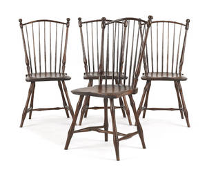 Set of four New England rodback Windsor dining chairs ca 1810