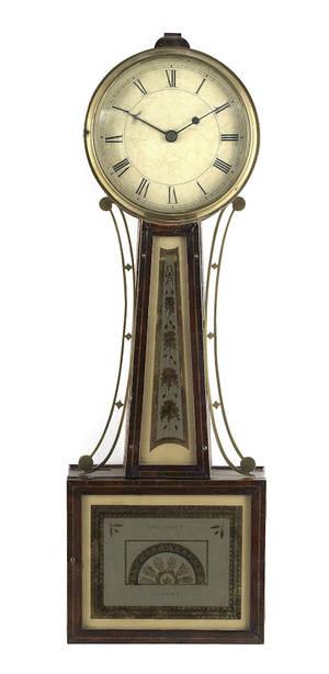 Willards patent mahogany banjo clock ca 1810