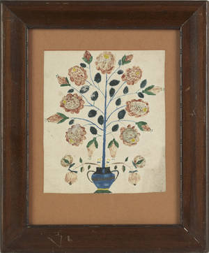 Pennsylvania Schwenkfelder watercolor on paper drawing of a rose tree arising from an urn