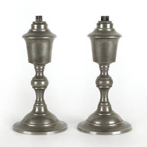 Pair of EW Smith Beverly Massachusetts pewter whale oil lamps