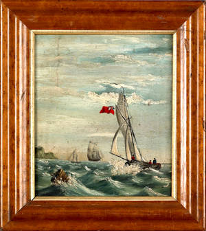 Oil on board nautical scene with a British sail ship