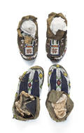 Two pair of Plains beaded hide moccasins