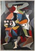 Roman Chatov 68 Oil Cubist Figure with Flowers