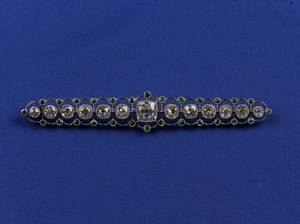 Edwardian Platinum Diamond and Demantoid Garnet Bar Pin