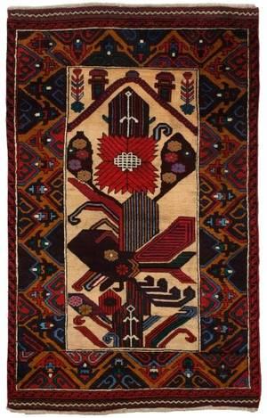 Hand Woven Baluchi Area Rug 2 10 x 4 6