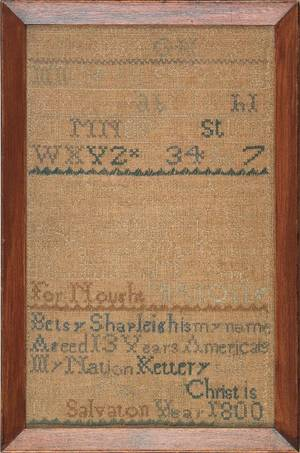 Maine silk on linen sampler dated 1800 wrought by Betsey Shapleigh