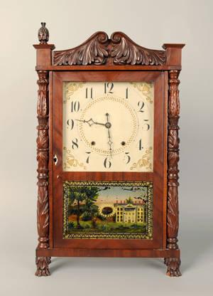 Empire mahogany mantel clock by Elisha Hotchkiss