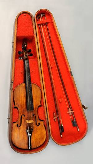 Maple violin with carved lion terminal and two piece back