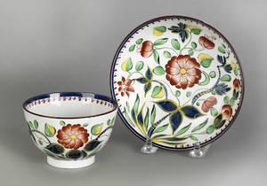 Gaudy Dutch Dahlia cup and saucer 19th c