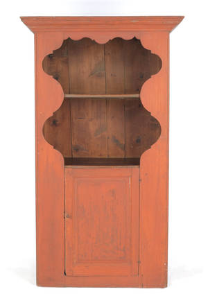 Painted pine onepiece cupboard early 19th c