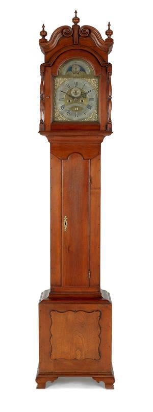 Reading Pennsylvania Chippendale walnut tall case clock ca 1770