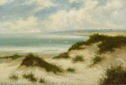 William Langley British 19th Century Soaring Gulls Above A Sandy Beach