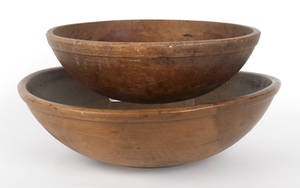 Two turned wooden bowls