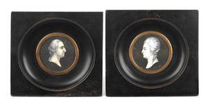 Pair of French miniature portraits of George and Martha Washington
