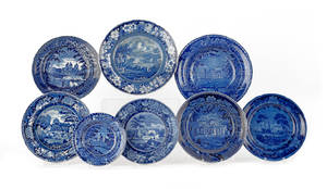 Eight blue Staffordshire plates and shallow bowls 19th c