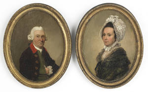 Pair of English oil on canvas portraits late 18th c
