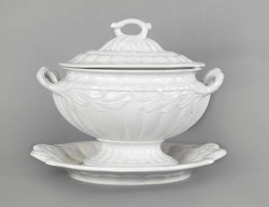 Massive English white ironstone tureen cover and undertray mid 19th c
