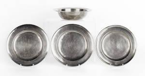 Three American pewter plates 18th c