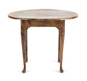 New England Queen Anne tiger maple tavern table 18th c
