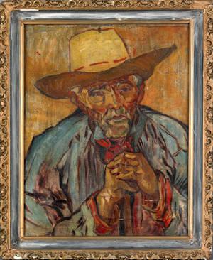 Oil on canvas portrait of a cowboy