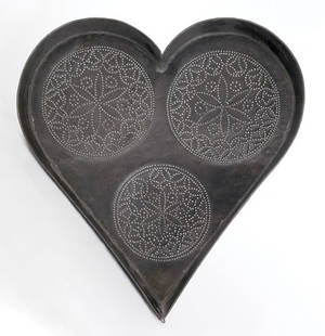 Punched tin heart shaped cheese strainer 19th c