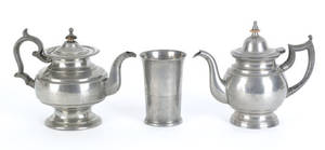 Two American pewter teapots early 19th c