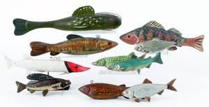Ten contemporary fish decoys